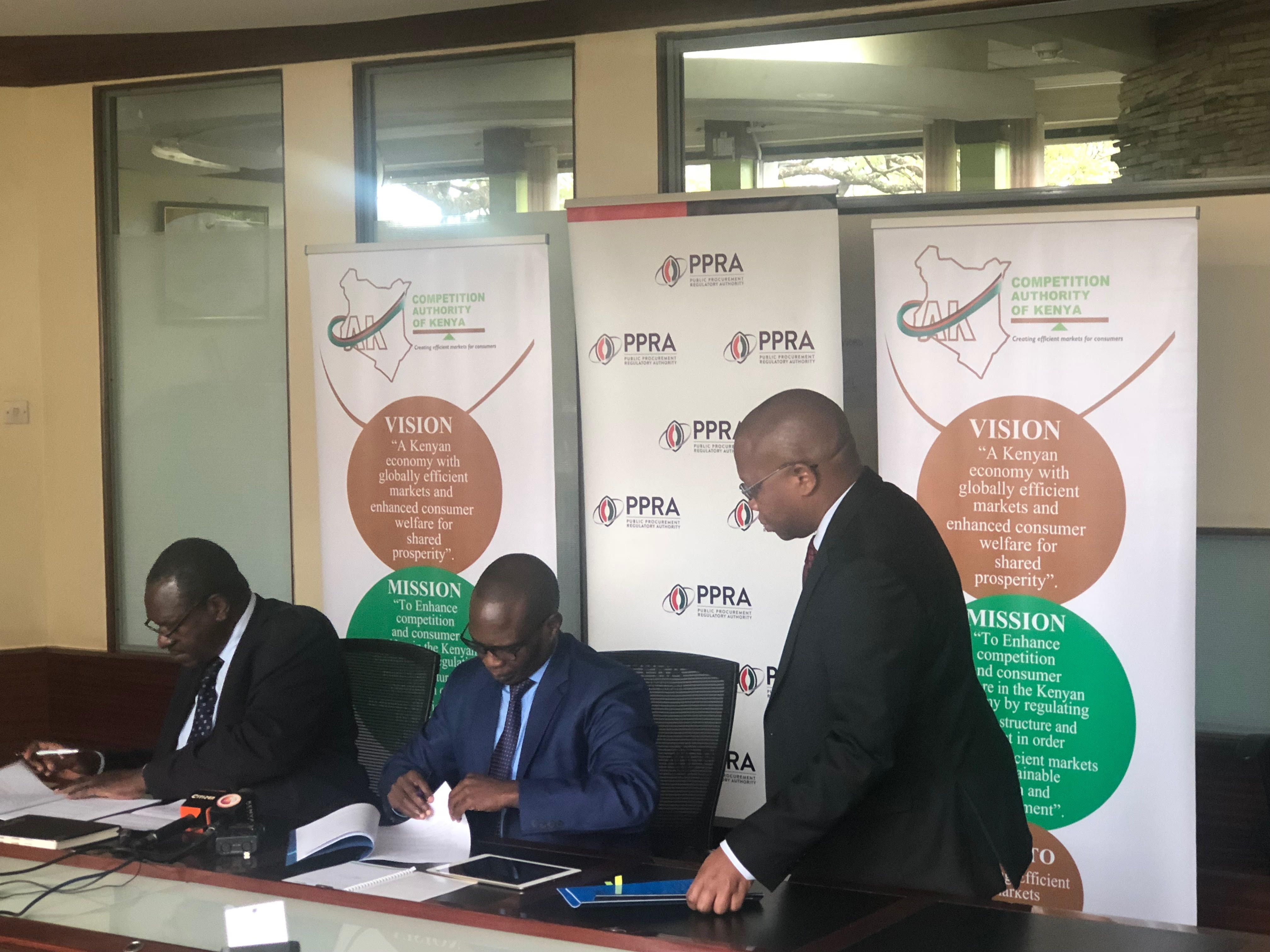 MoU signing between the Competition Authority of Kenya (CAK) and Public Procurement Regulatory Authority (PPRA) – June 2018